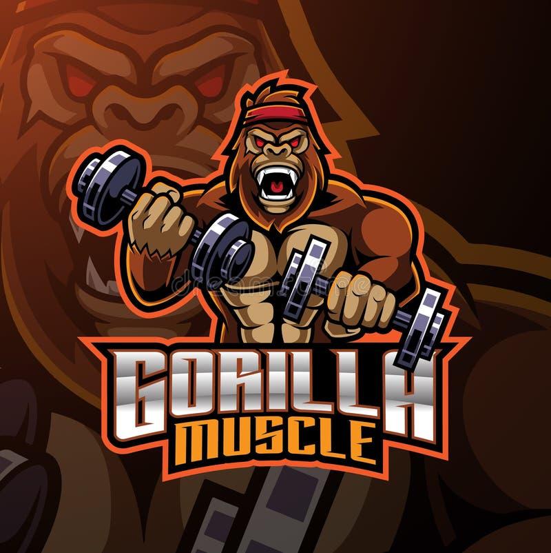 Дизайн логотипа талисмана мышцы гориллы иллюстрация вектора