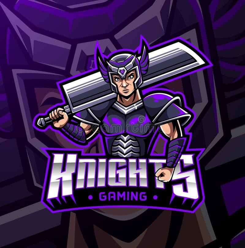 Дизайн логотипа талисмана спорта рыцаря бесплатная иллюстрация