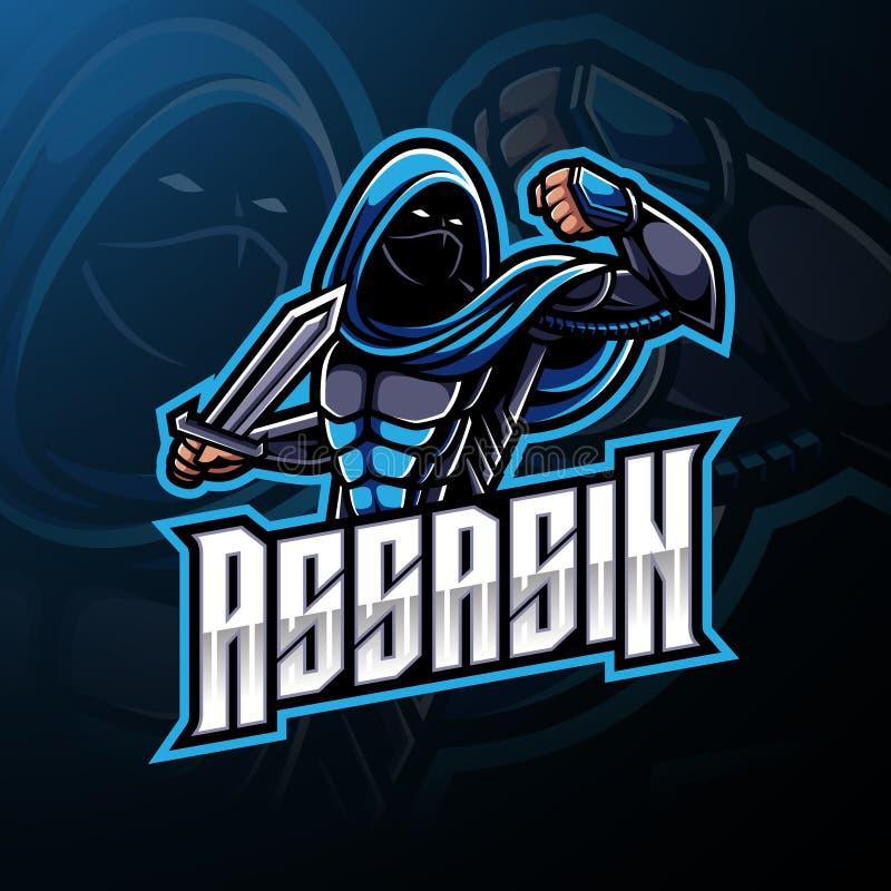 Дизайн логотипа талисмана спорта убийцы иллюстрация штока