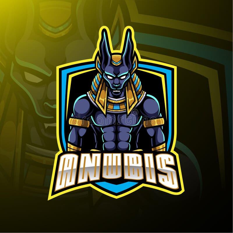 Дизайн логотипа талисмана спорта Anubis иллюстрация вектора