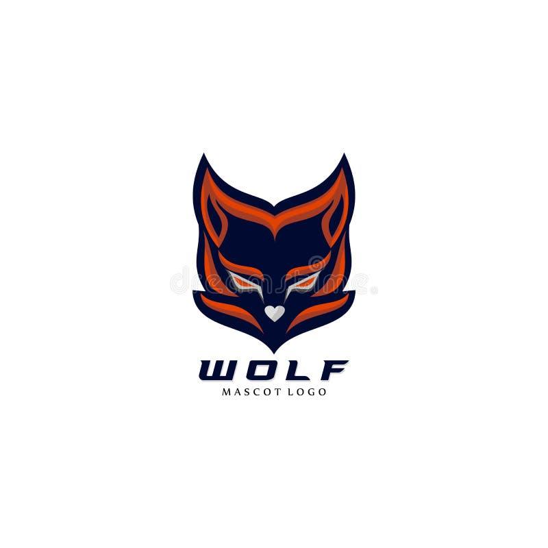 Дизайн логотипа талисмана eSports волка современный иллюстрация вектора