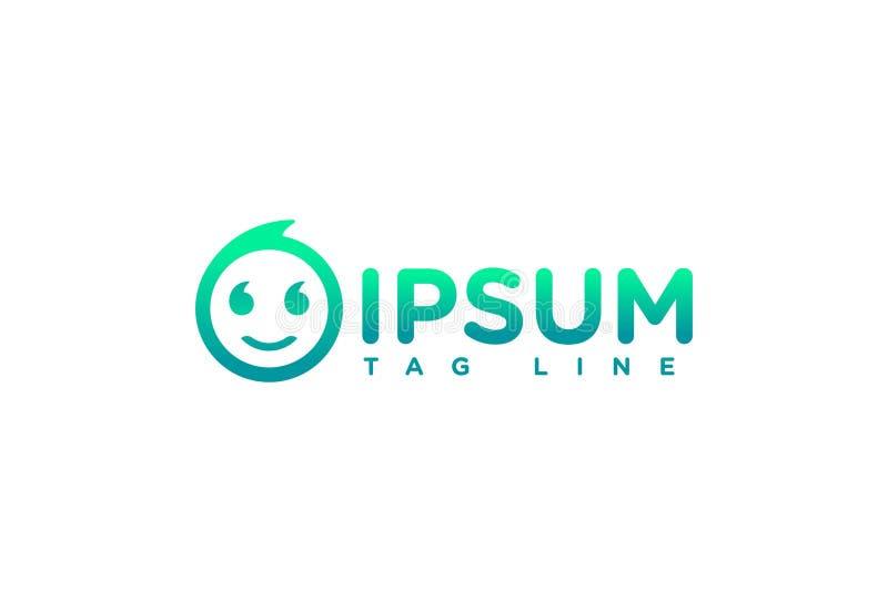 Дизайн логотипа улыбки зеленого цвета вектора иллюстрация штока