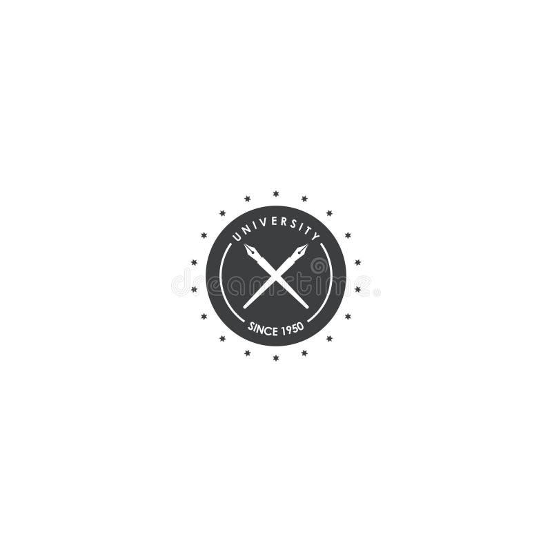 Дизайн логотипа университета и ручки шаблон вектора значка dan символа иллюстрация вектора