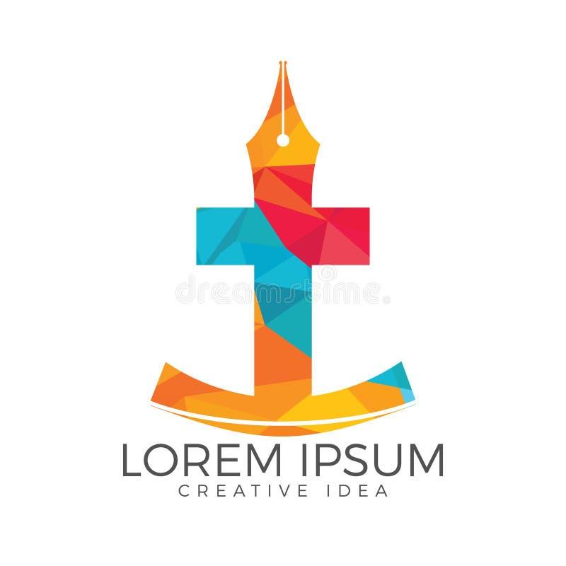 Дизайн логотипа христианской церков Распятие и значок nib ручки иллюстрация штока