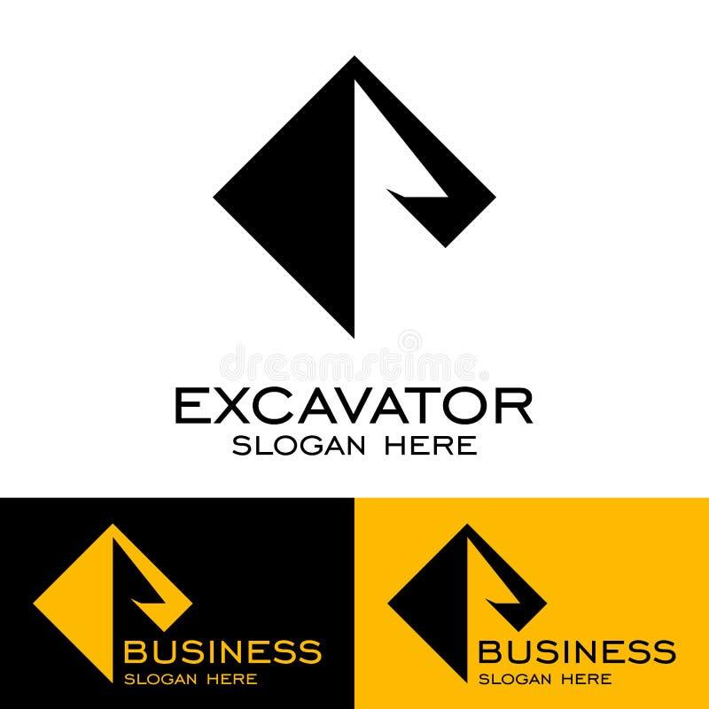 Дизайн логотипа экскаватора, значки вектора иллюстрация вектора
