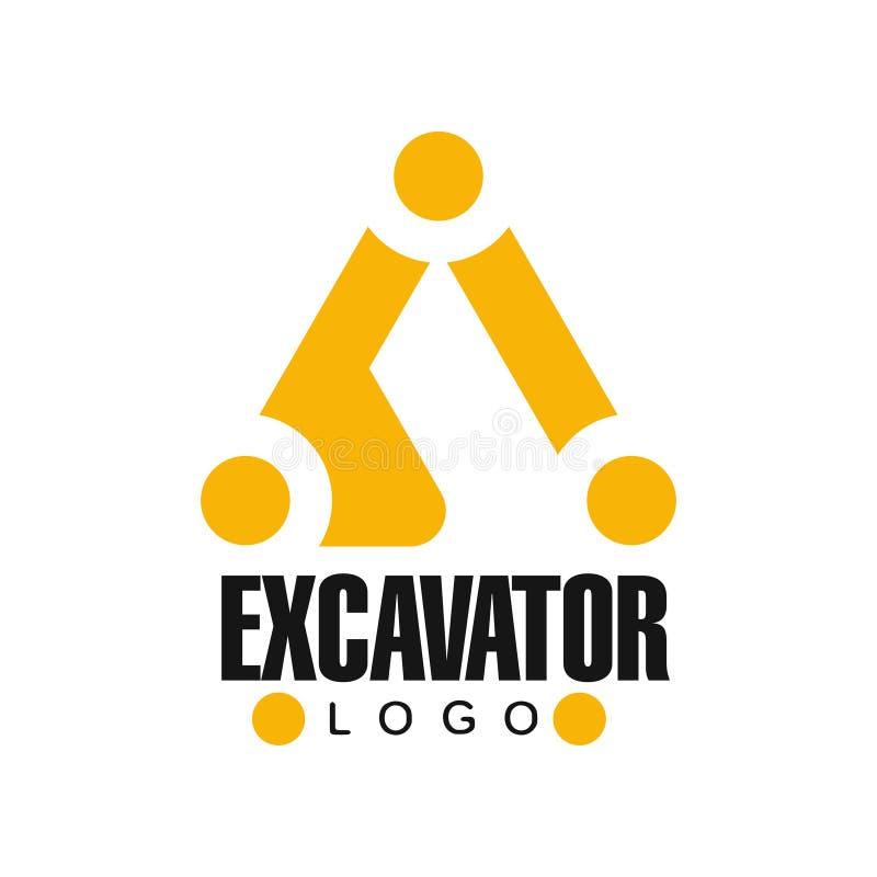 Дизайн логотипа экскаватора, иллюстрация обслуживания backhoe черная и желтая ярлыка вектора иллюстрация штока