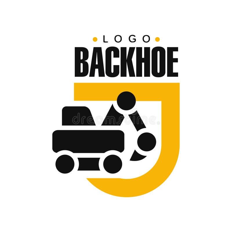 Дизайн логотипа Backhoe, иллюстрация обслуживания оборудования экскаватора желтая и черная ярлыка вектора иллюстрация штока
