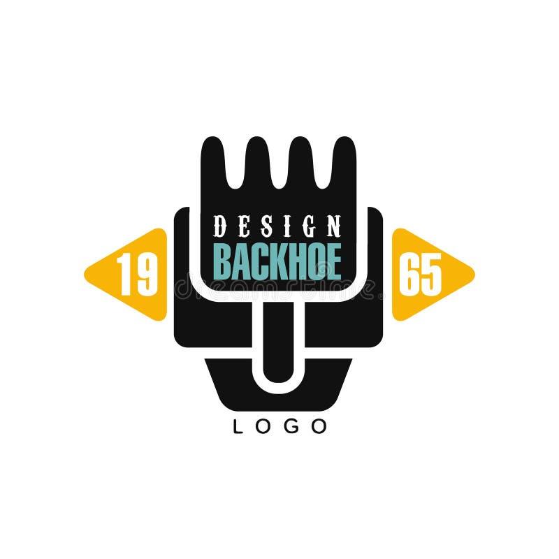Дизайн логотипа Backhoe, estd 1965, иллюстрация вектора ярлыка обслуживания оборудования экскаватора иллюстрация вектора