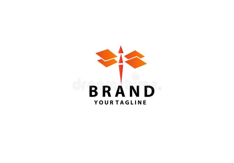 Дизайн логотипа Dragonfly r иллюстрация штока