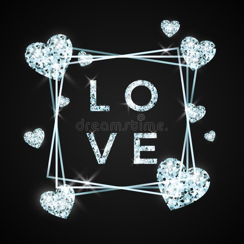 Дизайн любов в гениальном камне Сердце и текст диаманта на черной предпосылке Концепция для знамени валентинок также вектор иллюс бесплатная иллюстрация
