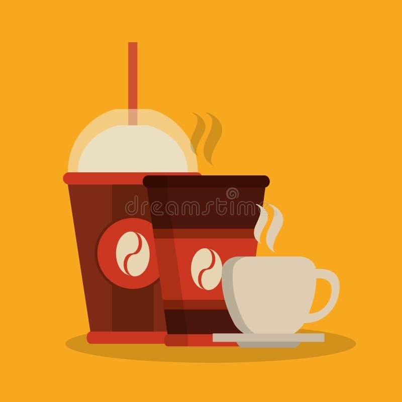 Дизайн магазина кружки и чашки кофе иллюстрация вектора