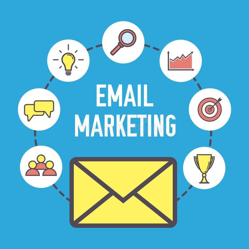 Дизайн маркетинга электронной почты Плоская концепция знамени с значками Маркетинг цифров Иллюстрация вектора на голубой предпосы иллюстрация вектора