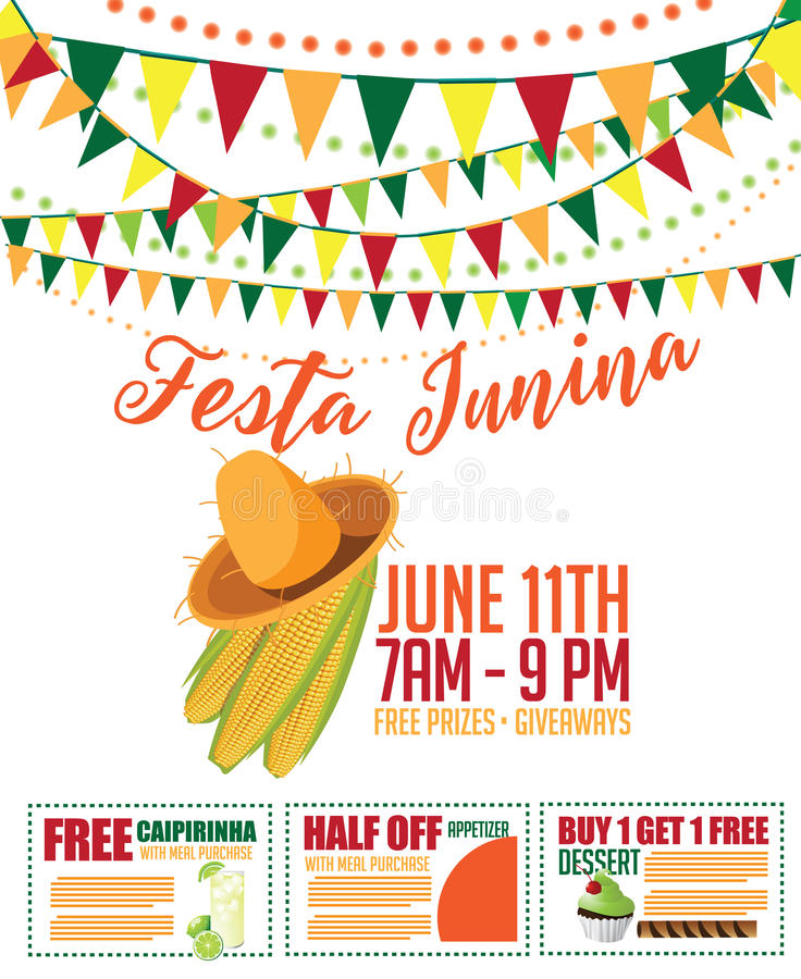 Дизайн маркетинга Festa Junina (партии в июне) иллюстрация вектора