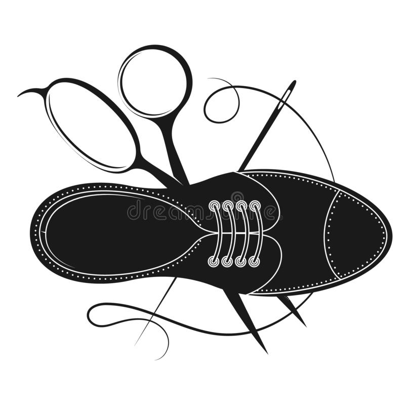Дизайн мастера ремонта ботинка иллюстрация вектора