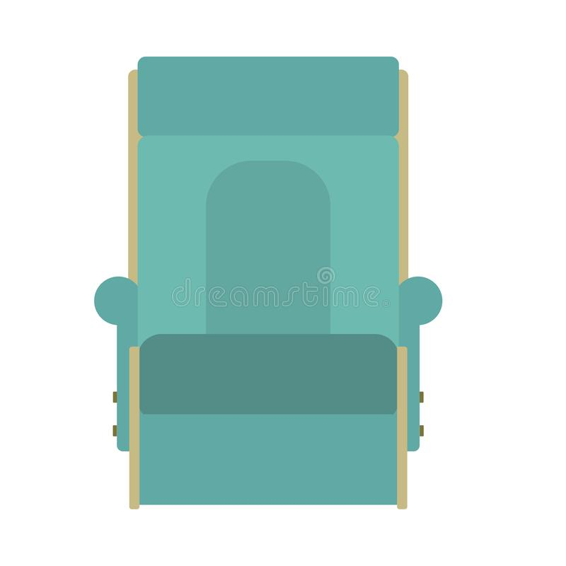 Дизайн мебели значка вектора кресла для отдыха Ослабьте фронт символа комнаты Место кресла мультфильма внутреннее Плоский элемент иллюстрация вектора