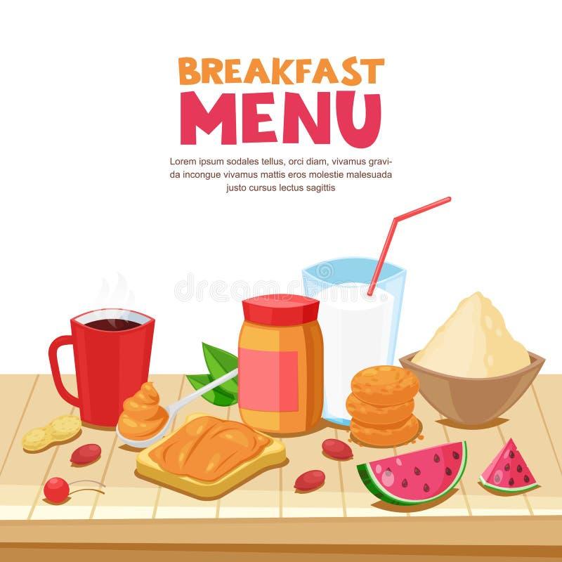 Дизайн меню завтрака, иллюстрация шаржа вектора Сандвич арахисового масла, чай, кружка кофе, овсяная каша на деревянном столе иллюстрация вектора