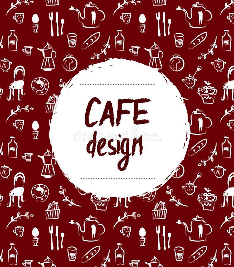Дизайн меню кафа в ретро стиле эскиза иллюстрация штока