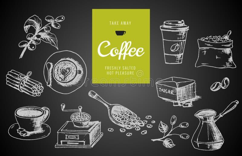Дизайн меню кофе руки вычерченный Эскиз иллюстрации вектора - кофейня Кафе меню карты Винтажный шаблон дизайна иллюстрация штока