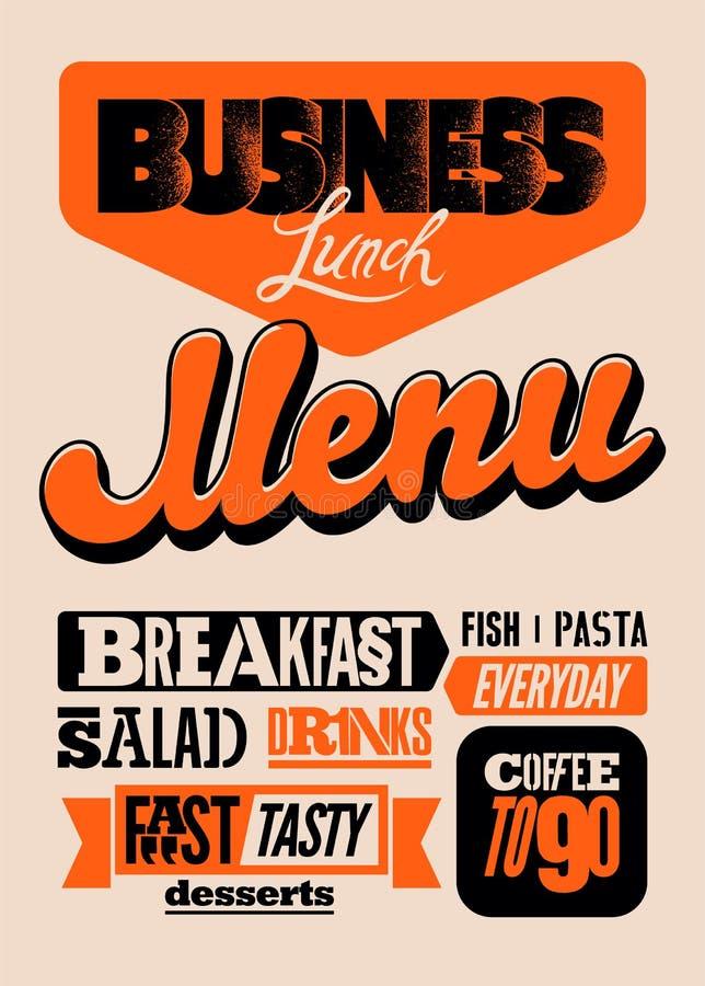 Дизайн меню ресторана типографский Винтажный плакат бизнес-ланча также вектор иллюстрации притяжки corel бесплатная иллюстрация