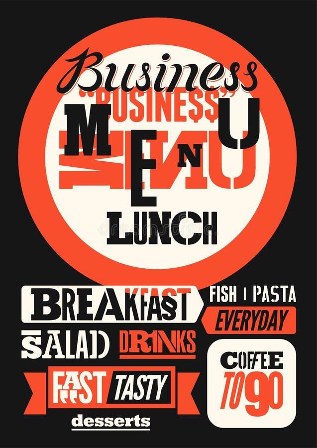 Дизайн меню ресторана типографский Винтажный плакат бизнес-ланча также вектор иллюстрации притяжки corel иллюстрация штока