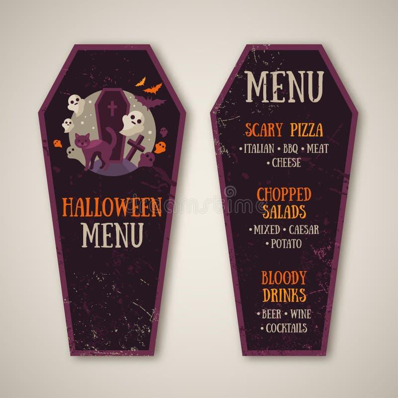Дизайн меню хеллоуина в форме гроба иллюстрация штока