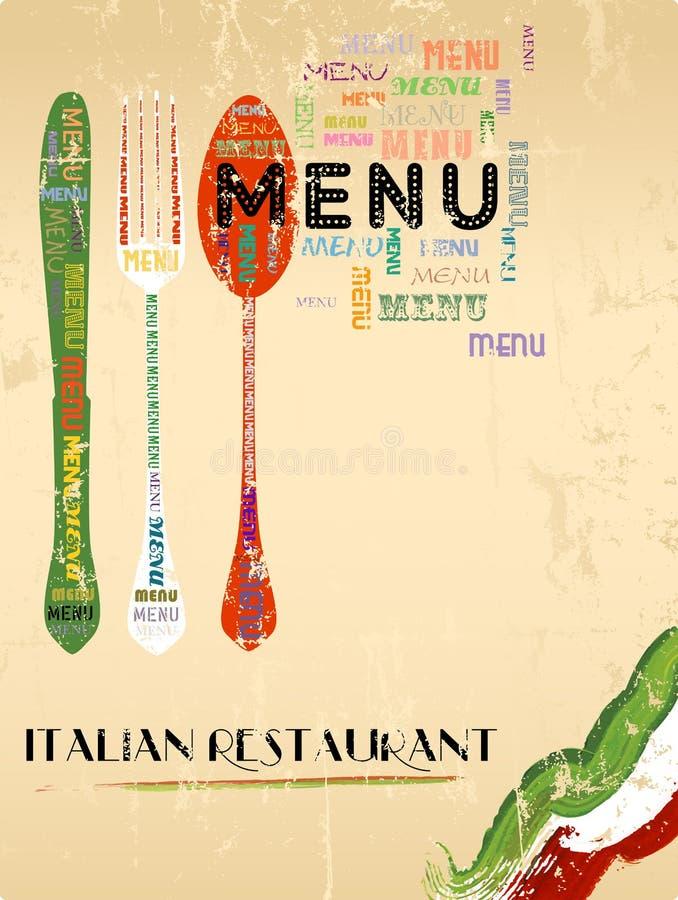 Дизайн меню для итальянского ресторана иллюстрация штока