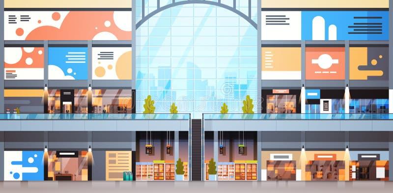 Дизайн много бутиков современного торгового центра внутренний большой магазина розничной торговли иллюстрация штока