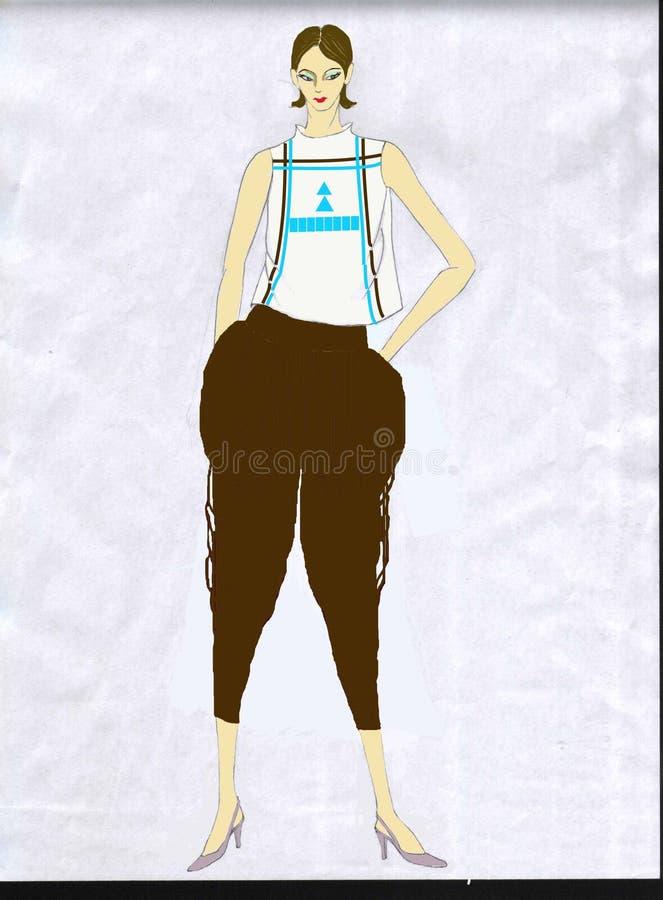 Дизайн моды - улучшенная китайская одежда - случайная носка иллюстрация вектора