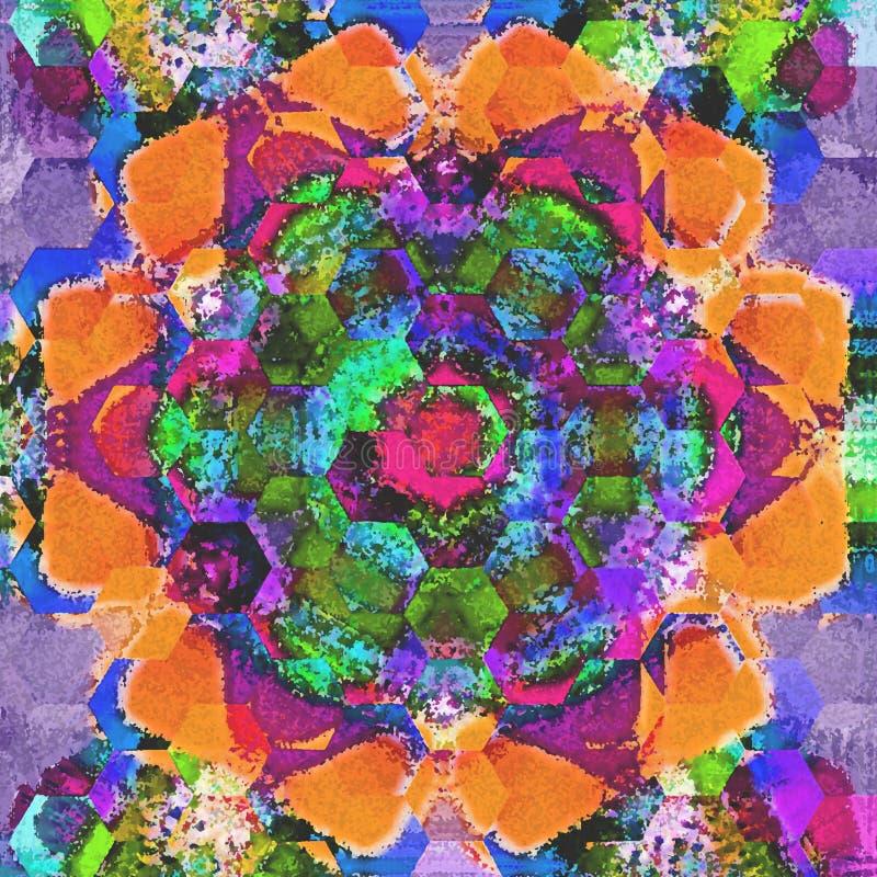 Дизайн мозаики пастельной плитки арабескы геометрический с влиянием акварели стоковое фото rf
