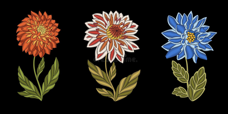 Дизайн моды вышивки флористический бесплатная иллюстрация