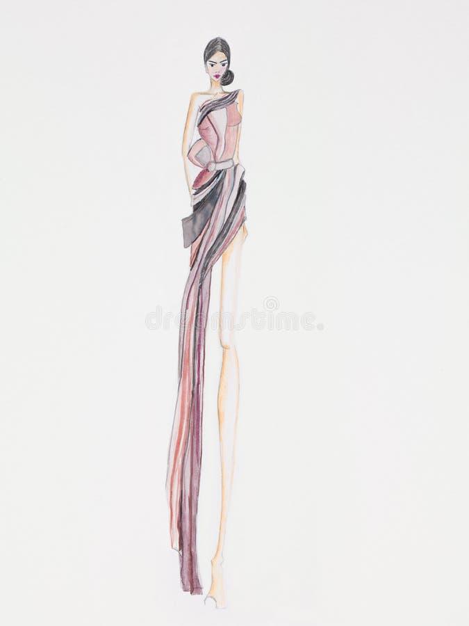Дизайн моды мантии вечера иллюстрация вектора