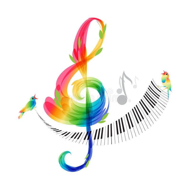 Дизайн музыки, дискантовый ключ и вектор клавиатуры рояля иллюстрация вектора