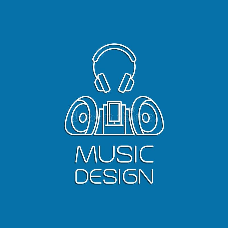 Дизайн музыки с рекордером и наушниками бесплатная иллюстрация