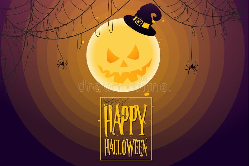 Дизайн мультфильма в концепции торжества дня хеллоуина со страшными полнолунием и spiderweb иллюстрация штока