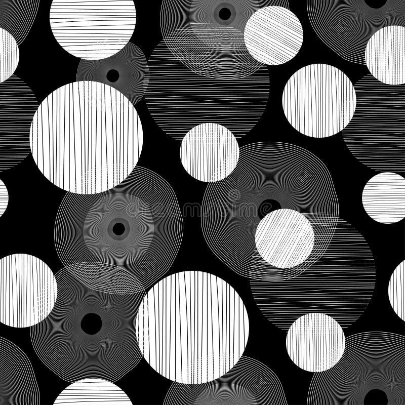 Дизайн обоев artdeco предпосылки картины черно-белого круга безшовный иллюстрация штока