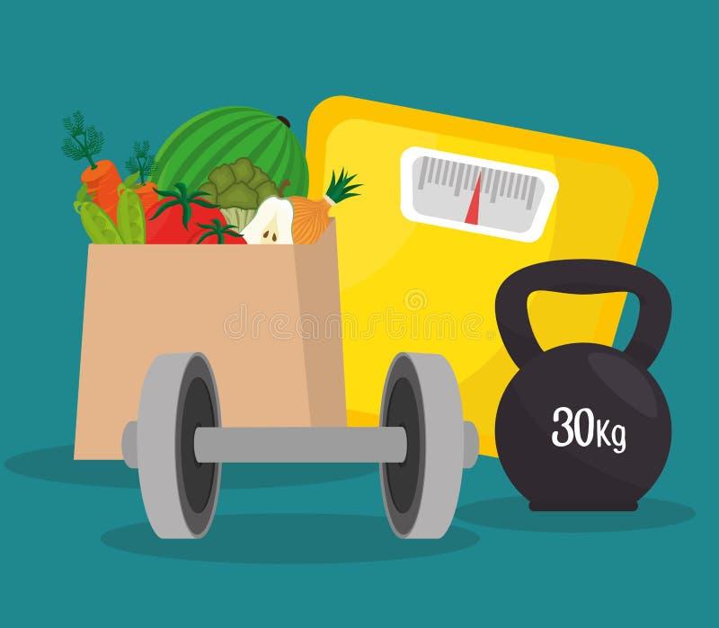 Дизайн образа жизни фитнеса healthty иллюстрация вектора