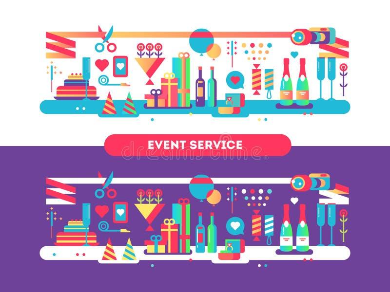 Дизайн обслуживания события плоско бесплатная иллюстрация
