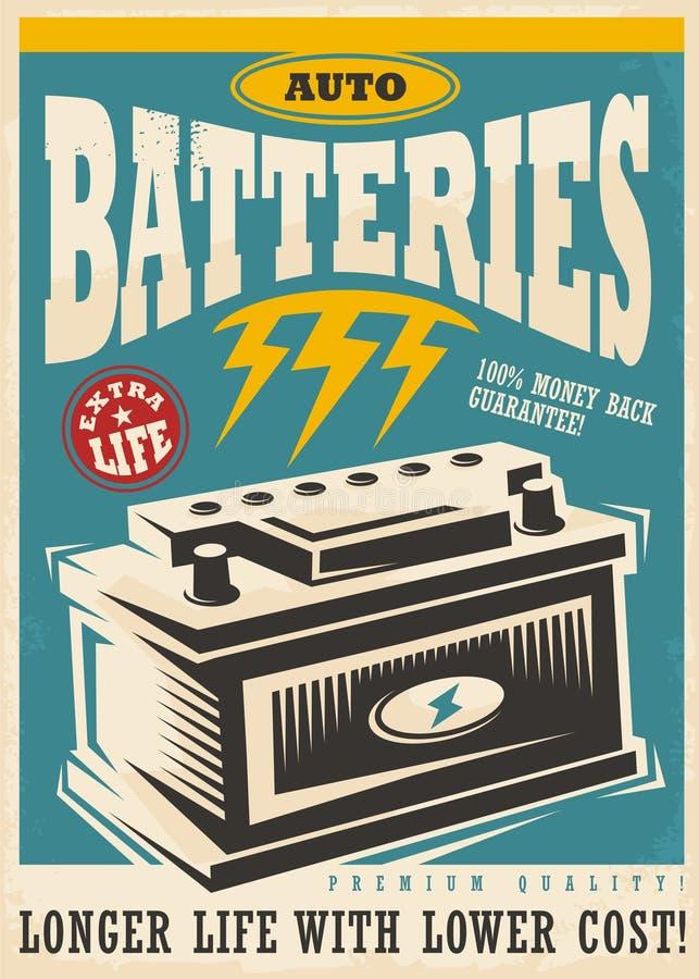 Дизайн объявления автоматических батарей lite винтажный бесплатная иллюстрация