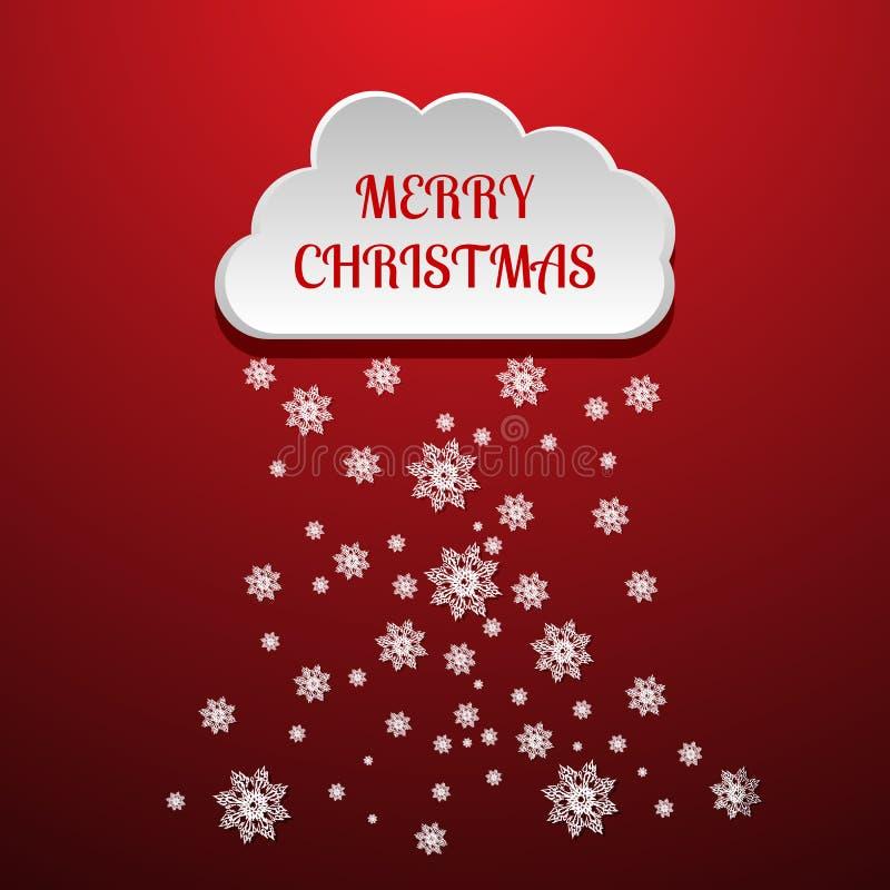 Дизайн облака вектора с элементом снега с Рождеством Христовым eps10 иллюстрация штока