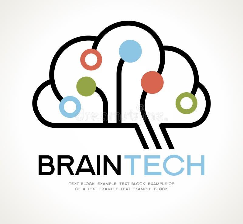 Дизайн логотипа данным по разума техника мозга иллюстрация вектора