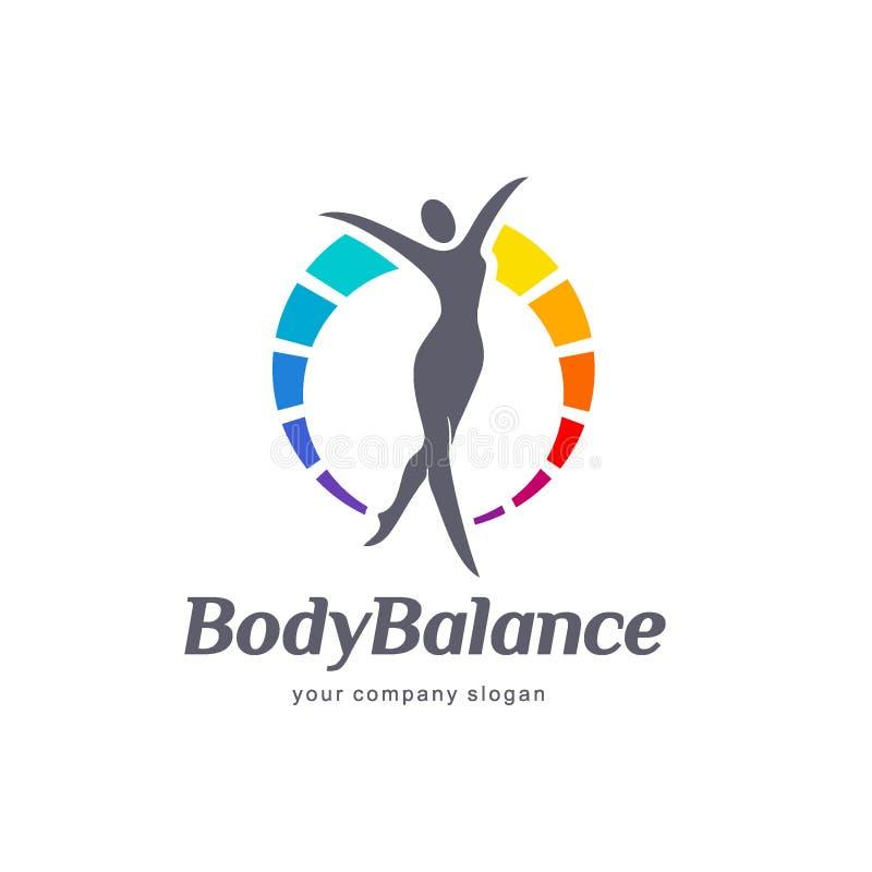 Дизайн логотипа вектора фитнеса и здоровья Баланс тела иллюстрация вектора