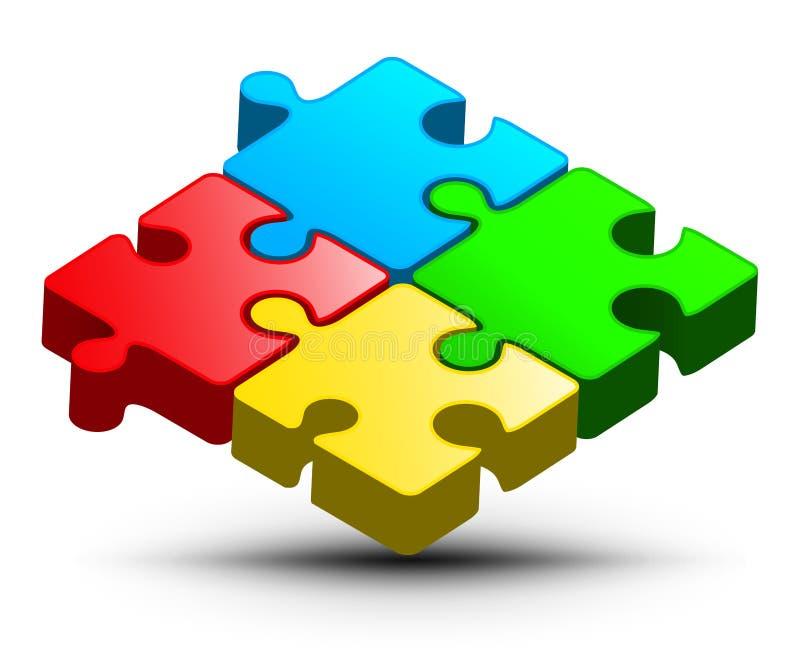 Дизайн логотипа головоломки Зигзаг вектора красочный иллюстрация штока