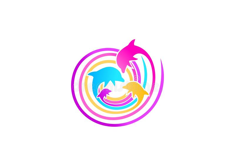 Дизайн логотипа дельфина иллюстрация вектора