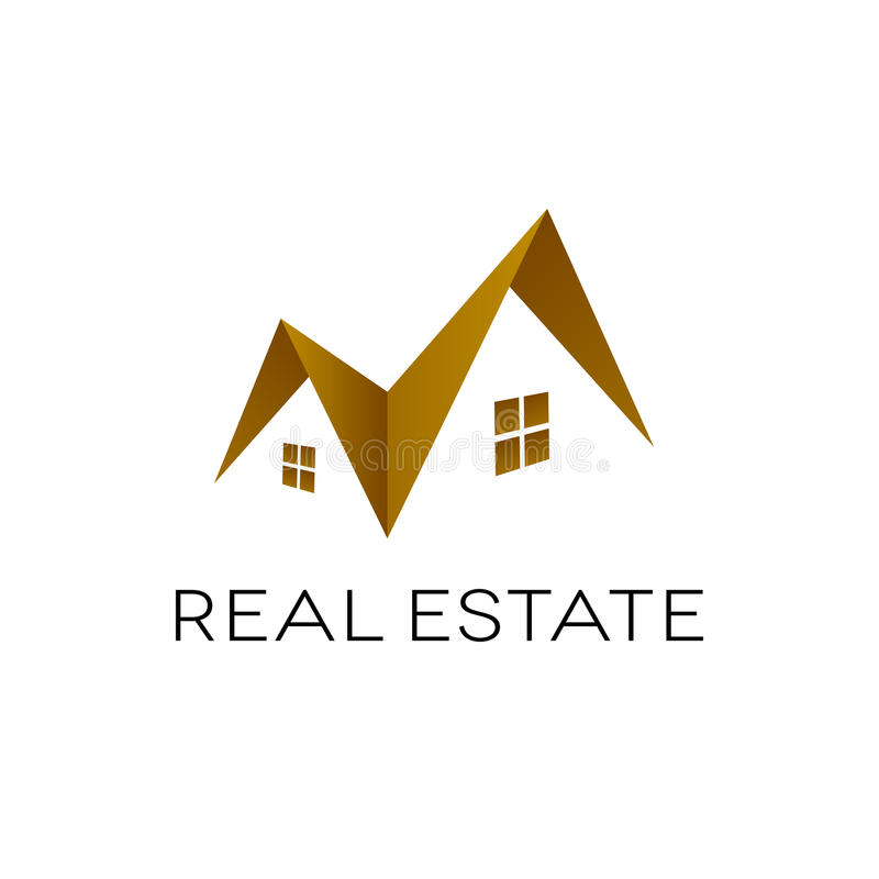 Дизайн логотипа недвижимости, изолированная форма крыши, иллюстрация штока