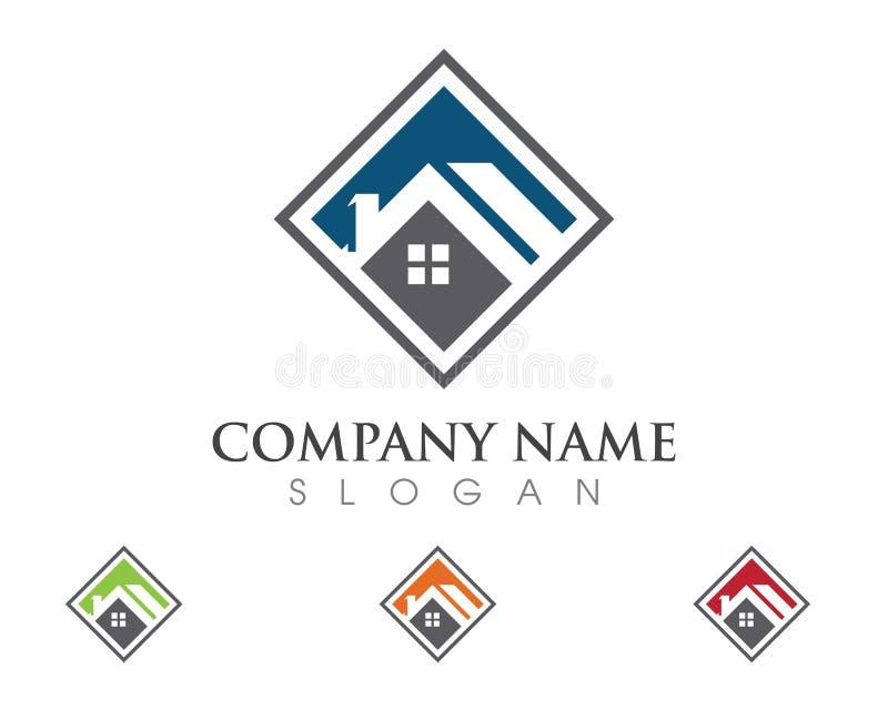 Дизайн логотипа недвижимости, свойства и конструкции иллюстрация вектора