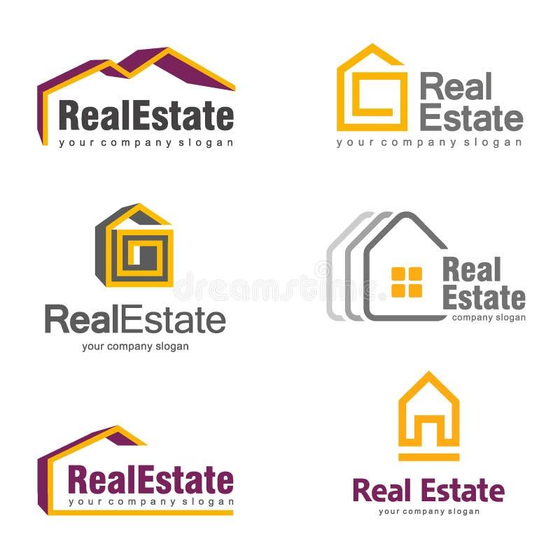 Дизайн логотипа недвижимости Творческий абстрактный комплект логотипа значка недвижимости иллюстрация вектора