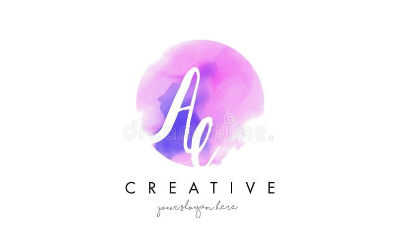 Дизайн логотипа письма акварели AE с фиолетовым ходом щетки иллюстрация штока