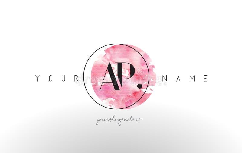 Дизайн логотипа письма AP с ходом щетки акварели круговым иллюстрация штока