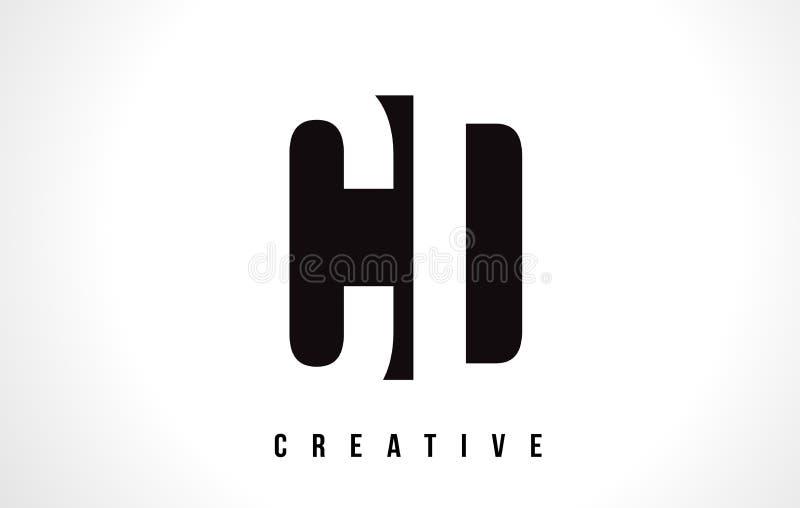 Дизайн логотипа письма c d КОМПАКТНОГО ДИСКА белый с черным квадратом бесплатная иллюстрация