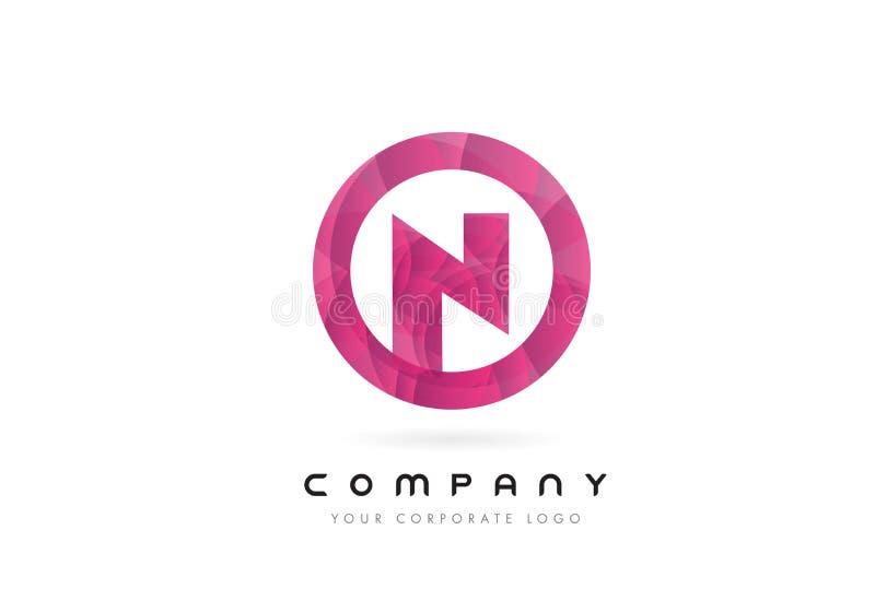 Дизайн логотипа письма n с круговой фиолетовой картиной бесплатная иллюстрация